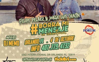 Jorge Luis Chacín y Felipe Peláez en Orlando Juntos con Borra Mi Mensaje Tour